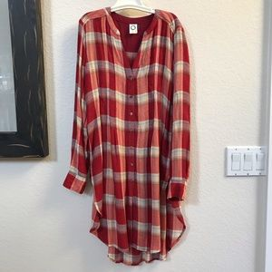 Anthro Button down Flannel tunic